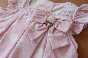 Vestido/detalhe de lacinho Anjos baby