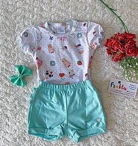 Conjunto blusa + short detalhe Anjos baby
