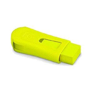 Apontador Com Depósito + Borracha Neon Amarelo Faber-Castell
