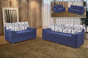 Sofá 2 e 3 lugares Azul