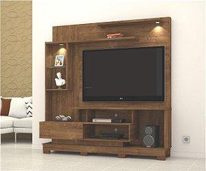 Painel para TV com Luminária até 50 polegadas + Nicho com Porta Basculante
