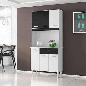 Armário P/ Cozinha 80x172cm C/ 6 Portas E 1 Gaveta - Poquema Kit Cassia