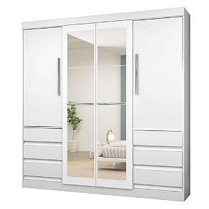 Roupeiro GR1577 C/Espelho 4Pts 6Gav Branco Araplac