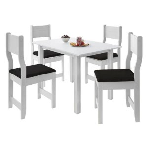 Conjunto de Mesa 4 Cad. New Dallas Branca - Indekes