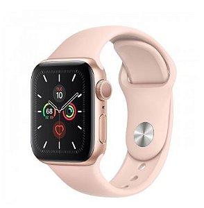 Watch Series 5 40mm Caixa Dourada de Alumínio com Pulseira Rosa Esportiva: Modelo GPS - Pré-venda