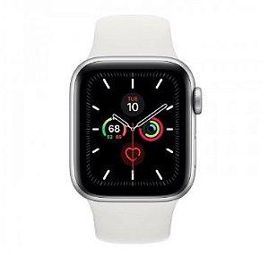 Watch Series 5 40mm Caixa Prateado de Alumínio com Pulseira Branca Esportiva: Modelo GPS - Pré-venda