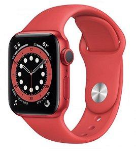 Watch Series 6 44mm Caixa Vermelha de Alumínio com Pulseira Vermelha Esportiva: Modelo GPS