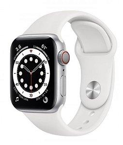 Watch Series 6 44mm Caixa Prateada de Alumínio com Pulseira Branca Esportiva: Modelo Cellular