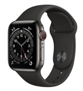 Watch Series 6 40mm Caixa Cinza-espacial de Alumínio com Pulseira Preta Esportiva: Modelo GPS