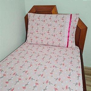 Jogo de Cama Solteiro 2 peças Malha 100% Algodão - Flamingo