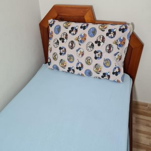 Jogo de Cama Solteiro 2 peças Malha 100% Algodão - Mickey azul