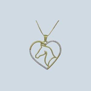 Colar Coração e Cabeça de Cavalo Vazado