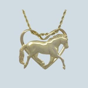 Colar  Coração de Cavalo Inteiro - prata