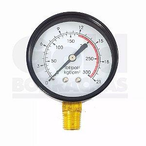 Manômetro Compressor Rosca 1/4 200lbs Vertical VedaFran