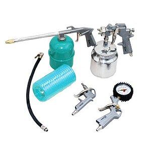 Kit Pistola de Pintura Pneumático para Compressor de Ar 750ml Tanque Baixo Alumínio com 5 Peças STELS