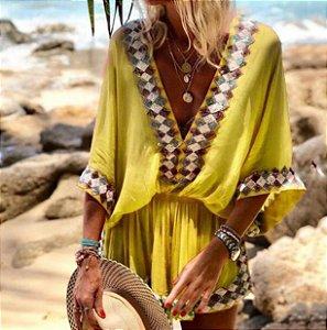 Saída de Praia Robe Femme Bohemian Decote em  V