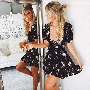 Vestido Feminino Boho FloraL Preto