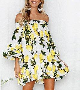 Vestido Feminino Ombro a Ombro Estampa Limão da Pérsia Soltinho