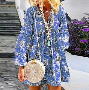 Vestido Feminino Floral Vintage Estampa Floral Delicado com Aplique em Renda