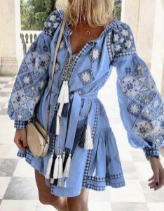 Vestido Feminino Espampa Vintage Boho com Pingentes