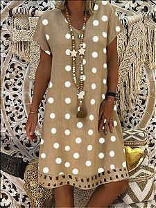 Vestido Feminino Fresquinho Póas Neutro
