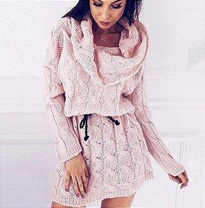 Blusa Longa Gola Alta com Cintinho Vestido de Tricôt Mini
