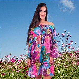 Vestido Tipo Túnica Floral Ombro a Ombro Bordado Turquesa