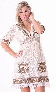 Vestido Feminino Delicado em Renda Bordado Decote em V