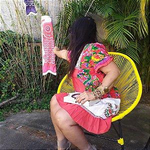 Vestido Feminino Indiano Floral Patchwork Alegre e Soltinho