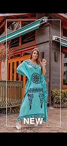 Sarongue Indiano Longo Tipo Caftan Luxo Bordado Mandala