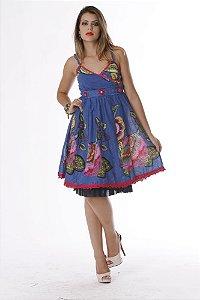 Vestido Feminino Floral de Alcinhas com Bordados e Apliques