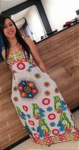 Vestido Feminino Indiano Longo Branco Estampa Mandala e Floral Alegre
