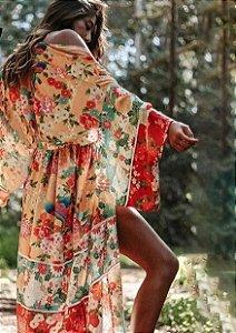 Kimono Longo Estampa Floral Oriental Leve e Delicado