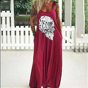 Vestido Feminino Longo Caveira Mexicana de Alcinhas