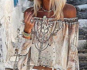 Blusa Feminina Leve Ombro a Ombro Estampa Tatuagem Delicada