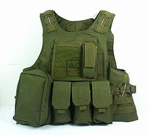 Colete Tático Militar Airsoft QGK Assault Verde Oliva