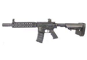 Fuzil Rifle Arma de Airsoft Elétrica Bolt B4 RAS 9 com Blowback e Recuo