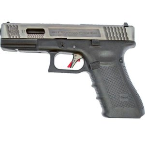 Pistola Airsoft GBB Gas Blowback WE Glock G17 T7 Prata