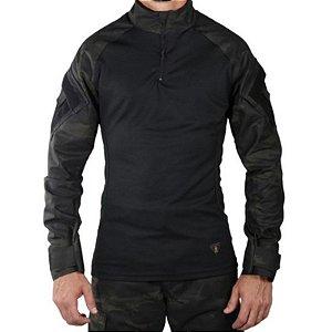 Camisa Militar Tática Combat Shirt Bélica Multicam Black