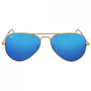 Ray Ban Aviador Dourado Lentes Azul Espelhado RB3025L