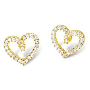 Brinco Formato Coração Folheado com Pedras de Zircônia