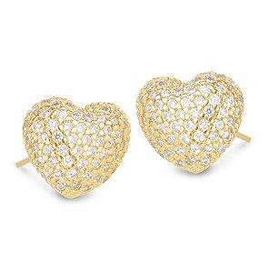 Brinco Coração com Pedras de Zircônia