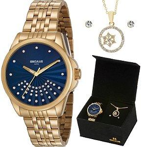 Relógio Seculus Mostrador Azul com kit Folheado a Ouro 18k