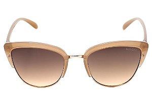 Óculos de Sol Bulget Bege Translúcido e Dourado Brilho Degradê BG3206 T01