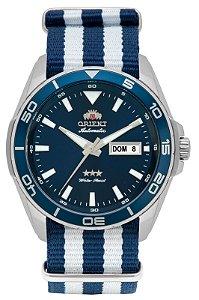 Relógio Orient Masculino 469ss064 Com Pulseira Nato Azul