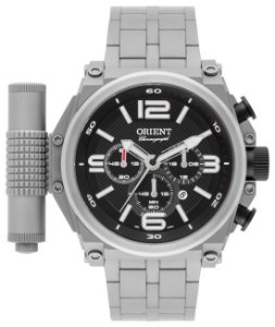 Kit Relógio Orient Masc Titanium + Puls Em Couro Mbttc013