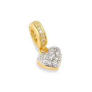 Berloque com Pedras de Zircônia Coração