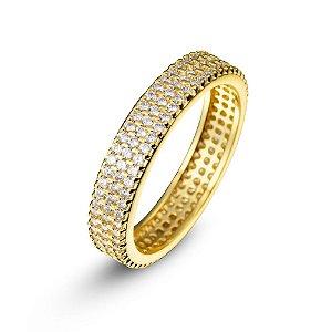 Anel Folheado a Ouro com Pedras de Zircônia