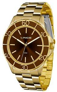 Relógio Lince Dourado analógico