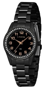 Relógio Feminino Lince Preto com pedrinhas LRNJ099L